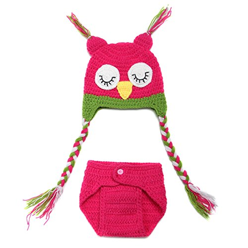 The Shining Twins Costumes (Youngate Vivid Owl Newborn Baby Photo Shoot Crochet Hat With Braids + Short Pant (0-3 Months-Hat Circumference:14.5-15.3inch/37-39cm, Rose Red))