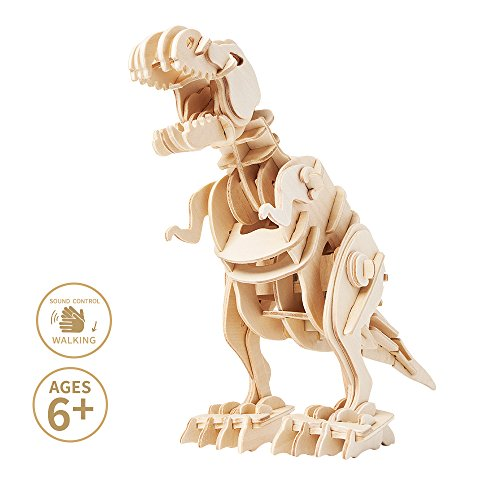 Miscy Dinosaurs 3D Puzzles T Rex - Model Kits for Kids 8 or 10 Years Old & Up, Walking Wooden Art Projects Craft-Best Educational Gifts for Boys and Girls in Toy Gift Sets, Sound- Activated -