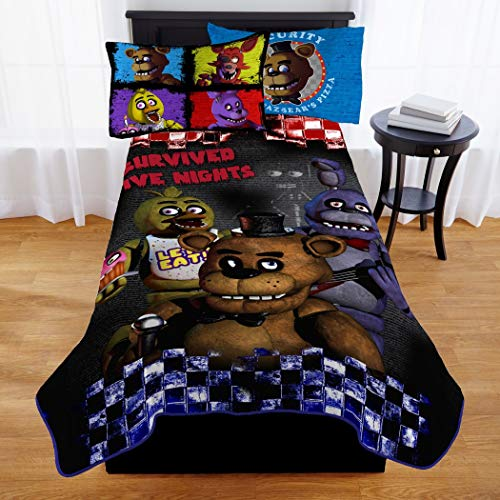 1 Piece 62 X 90 Kids Black Brown Five Nights At Freddy's Theme Throw Blanket, Novelty Geometric Survival Horror Video Game FNAF Picnic Car Style Accent Bedding Couch Sofa Bedroom Bed, Polyester