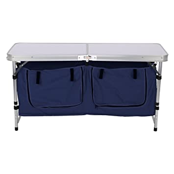 Finether Lightweight Height Adjustable Aluminum Folding Table With Large  2 Compartment Storage Bag For Picnic