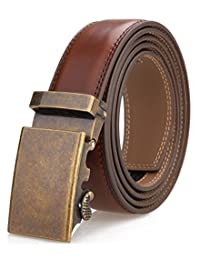 Men's Belt,Nelbons Slide Ratchet Belt for Men with Genuine Leather 1 3/8,Trim to Fit