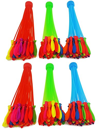 Water Balloons, 6 Bunches 222 Water Balloons Easy Quick Fill in Water For Summer Beach Party, Water Game Party ¡­Colorful