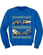 Tractors Bulldozers Ugly Christmas Sweater Style Toddler Kids Sweatshirt