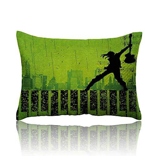 (Anyangeight Popstar Party Mini Pillowcase Music in The City Theme Singer with Electric Guitar on Grunge Backdrop Fun Pillowcase 16