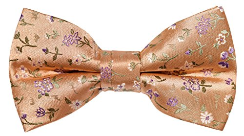 OCIA Mens Retro Floral Woven Microfiber Pre-tied Bow Tie - ND016 (Mens Dress Up Outfits)
