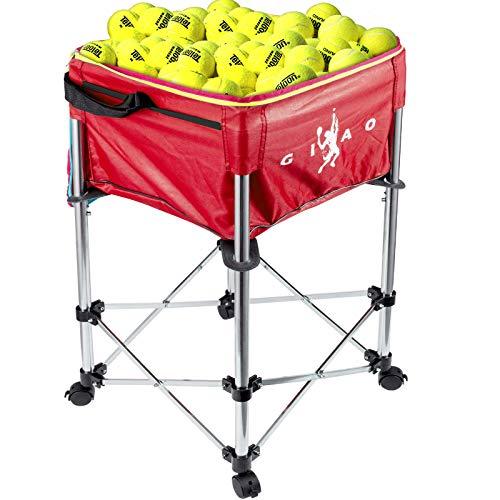 Bkisy-Tennis-Ball-Cart-Hold-Up-to-160-Balls-Adjustable-Height-Teaching-Ball-Hopper-with-Portable-Bag-for-Baseball-Softball-Badminton-and-Tennis-Ball