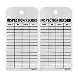 NMC RPT112 Accident Prevention Tag, ''INSPECTION RECORD'', 3'' Width x 6'' Height, Unrippable Vinyl, Black on White (Pack of 25)