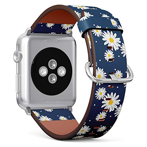 Compatible with Big Apple Watch 42mm & 44mm Leather Watch Wrist Band Strap Bracelet with Stainless Steel Clasp and Adapters (White Daisies Circle)