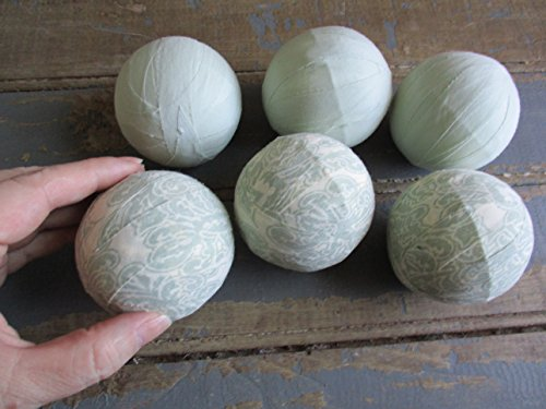 From The Attic Crafts Rag Balls Mint Green Heirloom Floral Farmhouse Style Bowl Fillers 2.5'' diameter Set of 6 by From The Attic Crafts (Image #5)