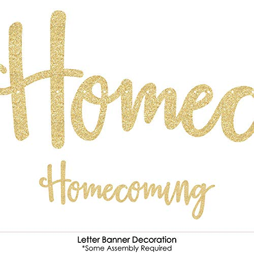 HOCO Dance - Homecoming Letter Banner Decoration - 36 Banner Cutouts and No-Mess Real Gold Glitter Homecoming Banner Letters by Big Dot of Happiness (Image #3)