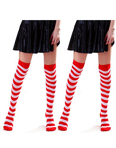 HDE Women's 2 Pack Opaque Two Tone Horizontal Striped Thigh High Stocking Socks (Red with (Candy Cane Cosplay)