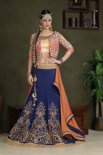 IWS Womens Blue Striking Lehenga Choli With Embroidery Lace Work 83882