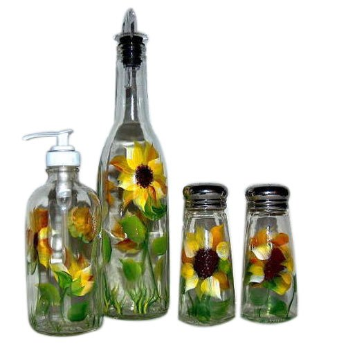 ArtisanStreet's 4-piece Hand Painted Glass Condiment Set with Sunflower Design Made to Order (Artisanstreets Set)