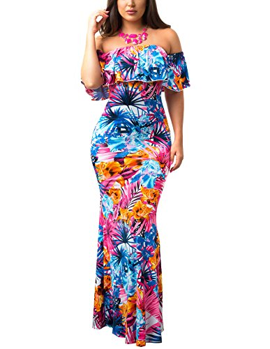 Suimiki Vintage Ruffle Plain Floral Printed Off Shoulder Bodycon Long Party Maxi Dress Multicolor 3X-Large (Turquoise Maxi Dress Plus Size)
