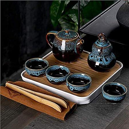 2 tazas de porcelana con infusor de t/é Mini juego de tetera de cer/ámica china Kung Fu 1 tetera verde bolsa port/átil para picnic al aire libre