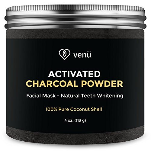 Activated Charcoal Powder - 100% Pure All Natural Coconut Shell - Multipurpose Teeth Whitening and Facial Mask, Cleanser and Exfoliator - 4oz - By Venü (Coffee And Apple Cider Vinegar Face Mask)