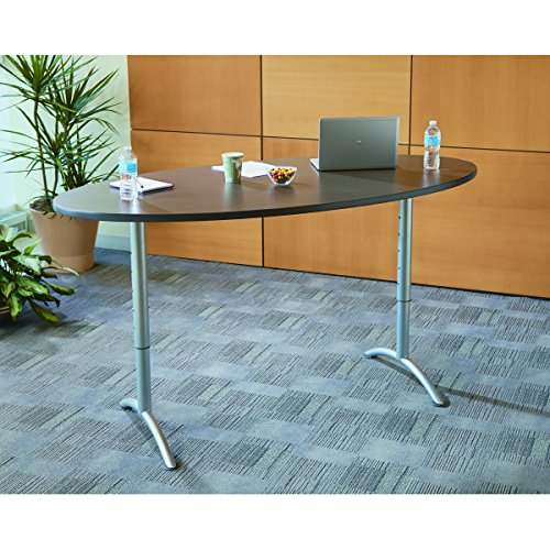 Iceberg ICE69624 ARC 6-foot Adjustable Height Oval Conference Table, 36'' x 72'', Walnut/Gray Leg by Iceberg (Image #2)