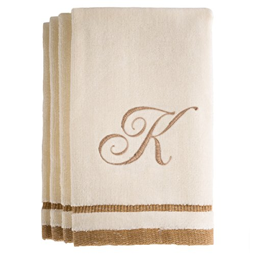 4 Freestanding Lace Machine Embroidery (Monogrammed Gifts, Fingertip Towels, 11 x 18 Inches - Set of 4- Decorative Golden Brown Embroidered Towel - Extra Absorbent 100% Cotton- Personalized Gift- For Bathroom/ Kitchen- Initial K (Ivory))