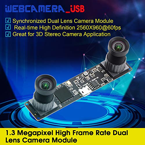 Dual Lens USB Camera Webcam Board Module Synchronized USB with Cameras,Mini USB 2.0 Free Driver Web Cams CMOS OV9750 USB Cameras Module 2560X960@60fps Dual Lens Webcam USB,Plug and Play Webcamera usb