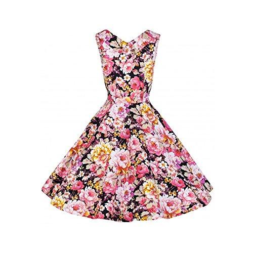 Ecollection Damen Audrey Hepburn 50s Retro Pink Flower vintage Bubble Skirt Rockabilly Swing Evening Kleid