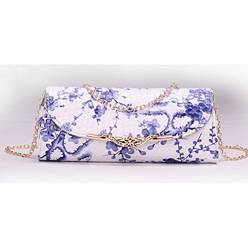 Clutch Bag Ladies PU Shoulder Blue Bag Pattern Crossbody Handbag Flower Dooppa Purse Flower Leather XPqPRw