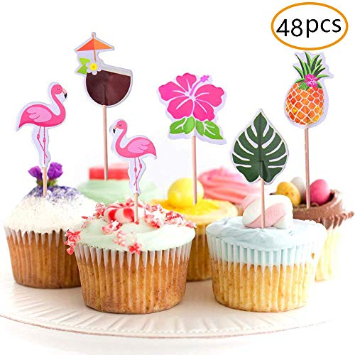 JOYET 48-Pack Cupcake Toppers for Hawaiian Luau Summer Flamingo Birthday Parties Cake Food Decoration Supplies