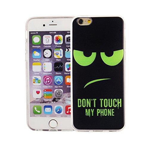 König-Shop Handy Hülle für Apple iPhone 6 / 6s Cover Case Schutz Tasche Motiv Slim Bumper TPU + 9H Panzerglas Motiv Dont touch my Phone Grün