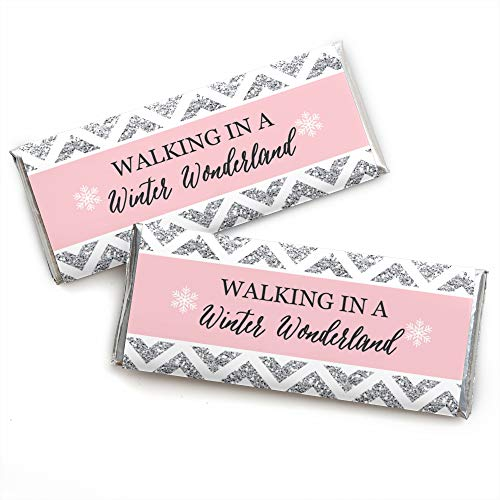 Pink Winter Wonderland - Candy Bar Wrapper Holiday Snowflake Birthday Party or Baby Shower Favors - Set of 24