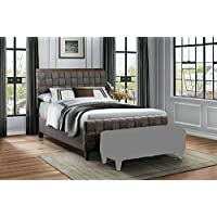 Homelegance Elista California King Bed with Tweed Fabric, Gray