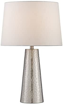 Silver Leaf Hammered Metal Cylinder Table Lamp Amazon Com