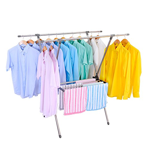 Baoyouni Foldable Hanging Clothes Drying Rack Stainless Stee