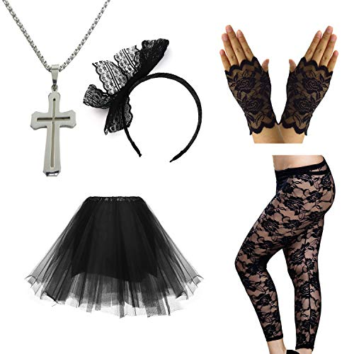 Madonna 80s Party Outfit Set with skirt, lace leggings, cross necklace, bow headband and lace gloves