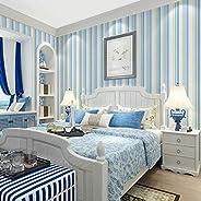 MKKM Novelty Wall Stickers,Wallpaper Stickers Non-Woven Fabric Vertical Wide Thin Stripes Blue Bedroom Warm Li