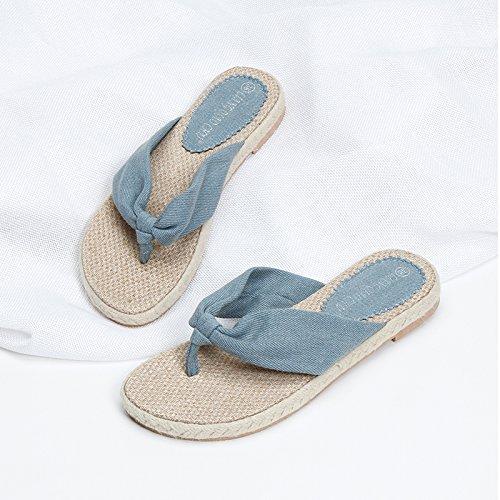 Casual Bottomed Verano Zapatillas Chanclas de Flat Ropa HBDLH Zapatos blue Denim Mujer Mujer Lino q6F8A7