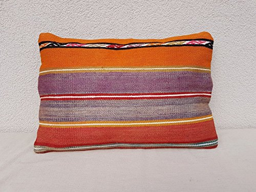 Vintage Turkish Handmade Soft Muted Color Large Boho Kilim Pillow Cover 14x20''