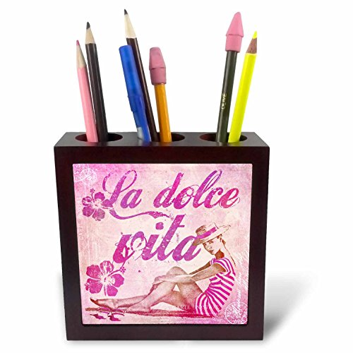 Art Illustration - Retro Woman In Swimsuit And Text La Dolce Vita In Pink - 5 inch tile pen holder (ph_268463_1) ()