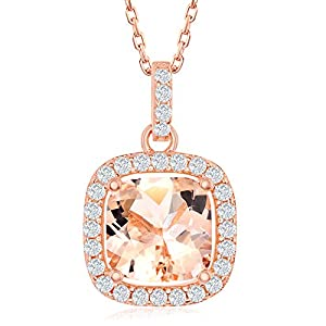 Princess Cut/Halo Round Morganite Cubic Zirconia with White CZ Border Sterling Silver Pendant 18'' Necklace Jewelry for…