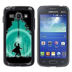 Samsung Galaxy Ace 3 , JackGot - Impreso colorido protector duro espalda Funda piel de Shell (Assistant Vert Forêt Nuit Silhouette)