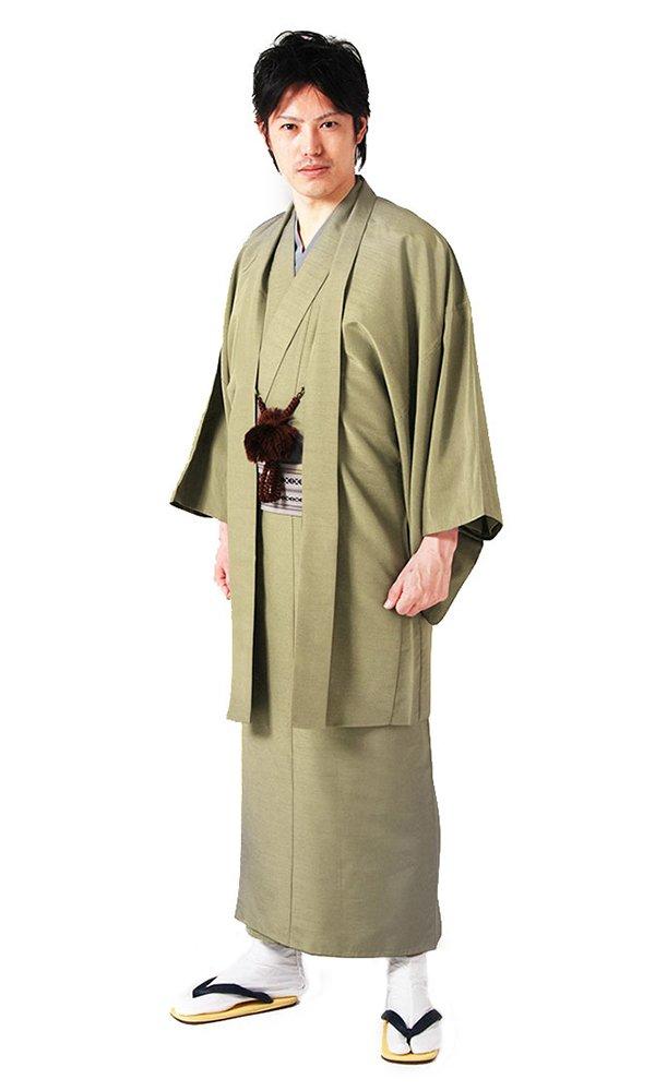 KYOETSU Men's Washable Lined Kimono and Haori-jacket set Tsumugi (Medium, Green) by KYOETSU