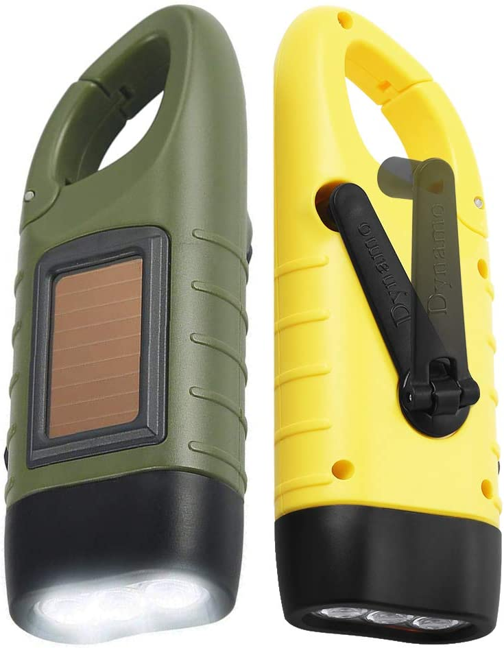 Simpeak [ 2-Pack] Hand Crank Solar Powered Flashlight, Emergency Rechargeable LED Flashlight, Survival Flashlight, Quick Snap Carbiner Dynamo Flashlight Torch for Outdoor Sports, Green+Yellow - -