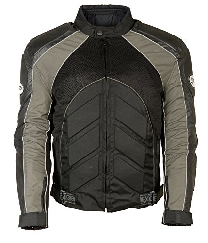 NexGen Men's Combo Leather/Nylon/Mesh Sport Bike Jacket (Black/Grey, X-Large) by Nexgen