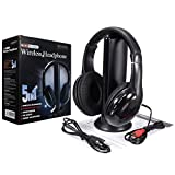 5 In 1 Wireless Cordless RF Headphones Headset with Mic for PC TV Radio