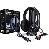 Rison®New 5 In 1 Wireless Cordless RF Headphones Headset with Mic for PC TV Radio
