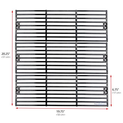 Uniflasy Porcelain Coated Cast Iron Grill Cooking Grid Grates Replacement Parts for Chargriller 2121, 2123, 2222, 2828, 3001, 3030, 3725, 4000, 5050, Duo 5050, 5252, King Griller 3008, 5252 (Porcelain Coated Grid)