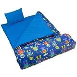 Sleeping Bag Wildkin Original Children's Sleep Sack with Matching Travel Pillow and Storage Bag, Cotton/Microfiber Exterior, 100% Cotton Flannel Interior, Children Ages 5-12 years – Robots