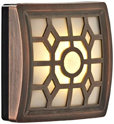 Light It! By Fulcrum, 4-LED Wireless Soft-Glow Motion Sensor Light with Filigree Pattern, Indoor/Outdoor, Battery Operated, Bronze