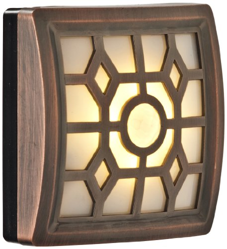 LIGHT IT! by Fulcrum 30300-307 4 LED Wireless Soft-Glow Indoor/Outdoor Motion Sensor Light with Filigree Pattern, Bronze Filligree Pattern