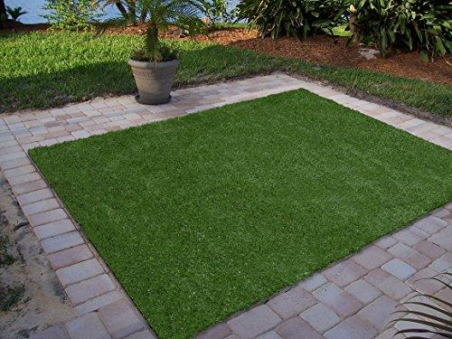 Green Garden Collection (Ottomanson Garden Collection Indoor/Outdoor Artificial Solid Grass Design Area Rug X Green Turf, 6'6