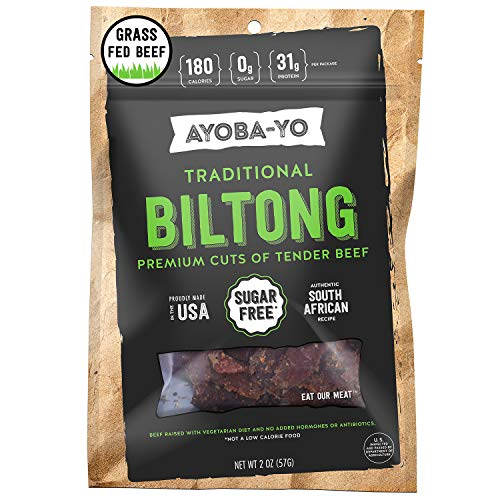Ayoba-Yo Biltong. Grass Fed, Tender Beef Snack. Better than Jerky. Keto Certified, Paleo Certified and Whole30 Friendly. High Protein Steak Cuts. Made with Premium Meat. Gluten & Sugar Free. 2 Ounce (Us Wellness Meats)