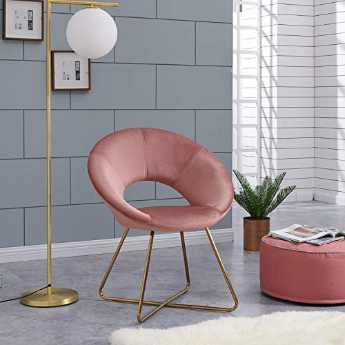 Duhome Modern Pink Dining Chair with Golden Legs,Round Armless Living Room Cushion Velvet Armchair Home Furniture